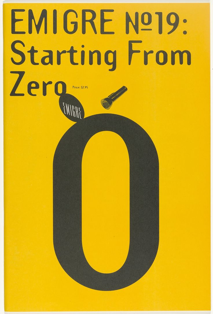'Starting from Zero' cover for issue 19 of EMIGRE magazine founded by design couple Rudy Vanderlans and Zuzana Licko