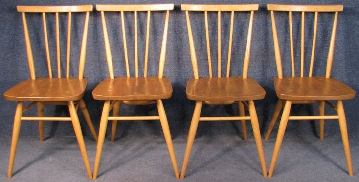 Set Of 4 Early Ercol All Purpose Windsor 391 Elm & Beech Kitchen Dining Chairs  #Ercol #WindsorAllPurpose