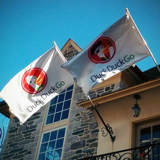 """Gabriel Weinberg, the founder of the small search engine, Duck Duck Go, posted on Path a picture of new Duck Duck Go Flags they mounted on the Duck Duck Go offices.  Gabriel said, """"New DuckDuckGo flag"""