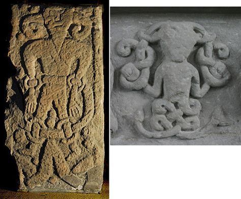 The Loki Stone of Kirkby Stephen (left) and the Loki depiction from Meigle (right)