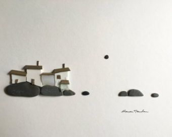 Sharon nowlan light house pebble art with sea glass by PebbleArt