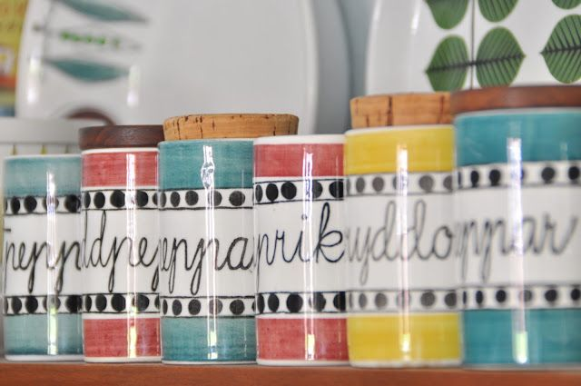 Rorstrand Arom herb and spice storage jars.