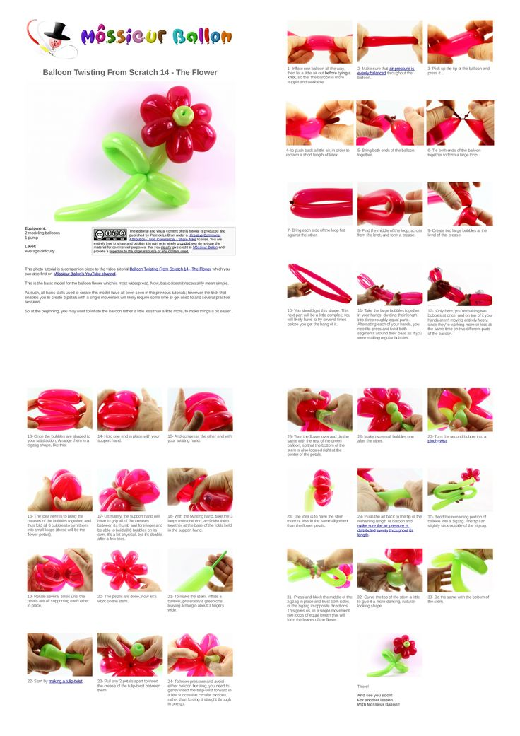 Pdf guide balloon twisting from scratch 14 the flower for Balloon decoration how to make