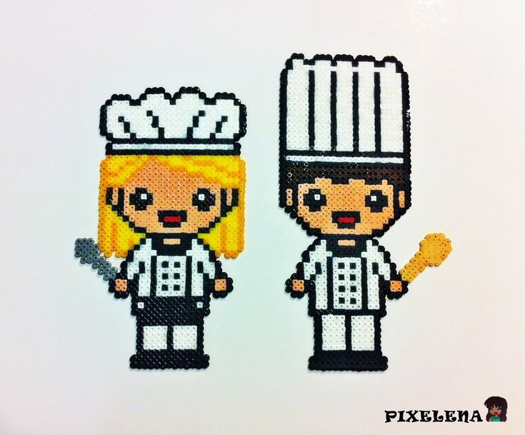 Kitchen chefs hama perler beads by PixelenaMV on deviantART