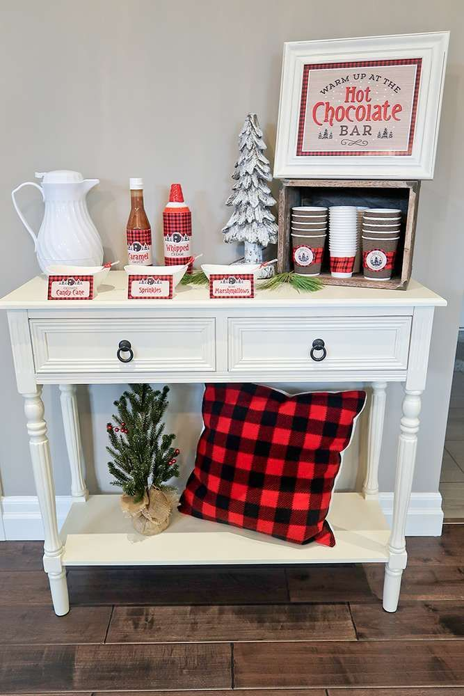 Keep warm this winter with a fun hot chocolate bar like the one at this Baby Bear Lumberjack Birthday Party!! See more party ideas and share yours at CatchMyParty.com #lumberjack #hotchocolate