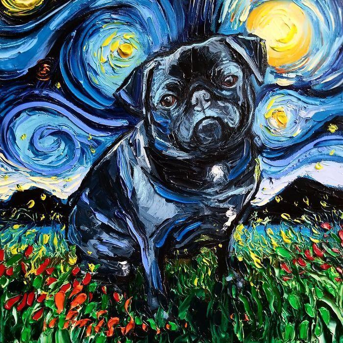 Van Gogh Starry Night Reimagined Dogs Paintings Aja Trier In 2020