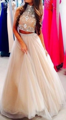 New Arrival A Line Prom Dress,Long Formal Evening Dress,Sexy Two Piece Prom Dress,Tulle Formal Dress by fancygirldress, $189.00 USD