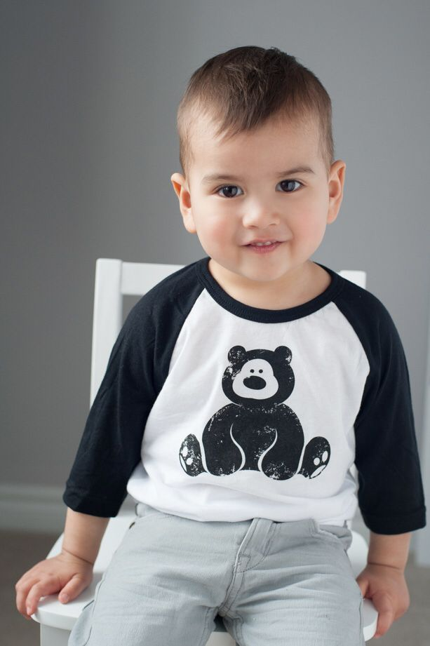 Rad kids wear Raglans! This little man rocks the unisex Vintage Bear 3/4 sleeve Raglan. #kidsfashion #kids #kidsstyle #kidsclothes