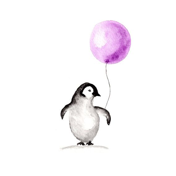 Penguin Art print Watercolor 8 x 10 by InkandBobbin on Etsy