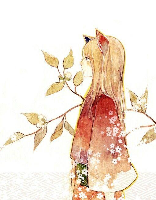 Fox Girl Drawing Japanese style fox gir...