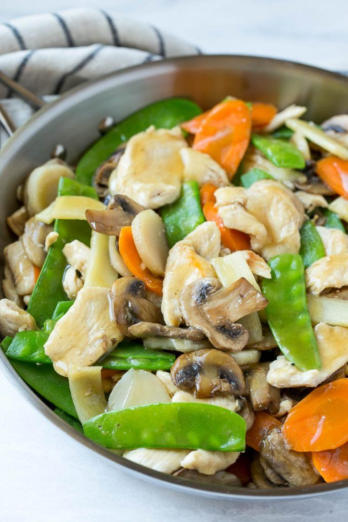This recipe for moo goo gai pan is a classic dish of chicken and ...