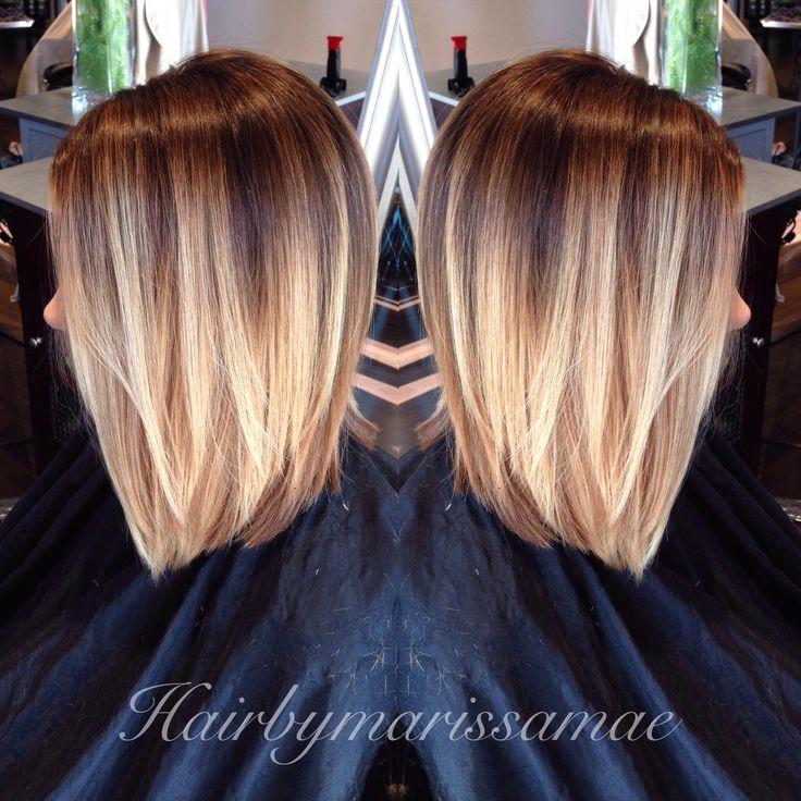 Dramatic blonde ombré on a long Aline. Perfect summer hair. Instagram: hairbymarissamae