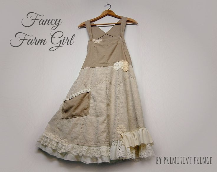 XL Linen Overall Dress, Shabby Chic, Lace Ruffles, Jumper Dress, Lagenlook, Eco Earth Friendly, Upcycled Clothing