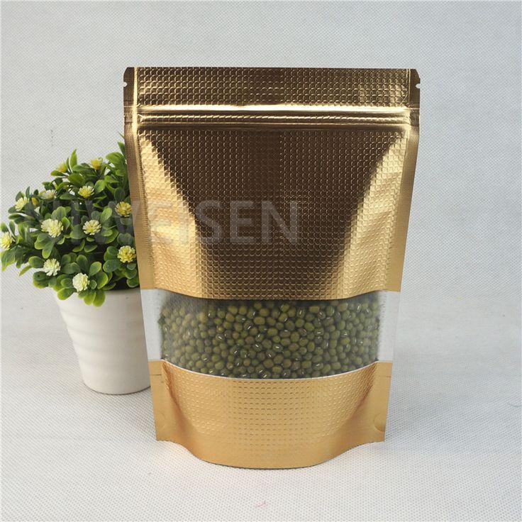 17x25cm Dark Gold Stand aluminum foil zipLock bag with matte window 100pcs Resealable Embossed mylar foil plastic pouches pack #Affiliate
