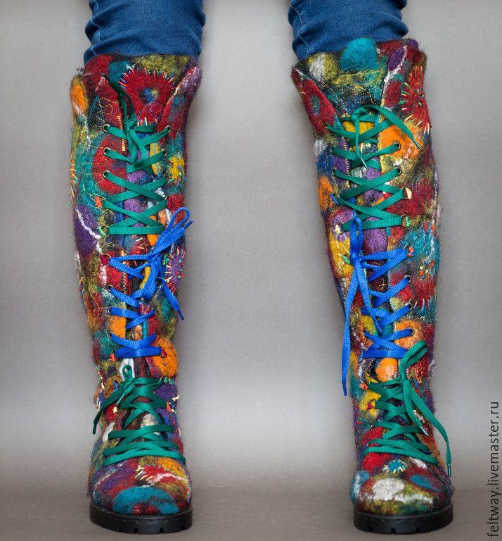 """Купить Ботинки войлочные """"ЛИЧНОСТЬ!"""" - разноцветный, ботинки женские, Ботинки из войлока, ботинки ручной работы"""