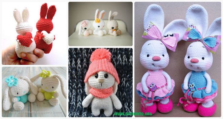 A Collection of Crochet Easter Bunnies, Amigurumi Bunny Toys, Stuffed Bunny Animal crochet free pattern