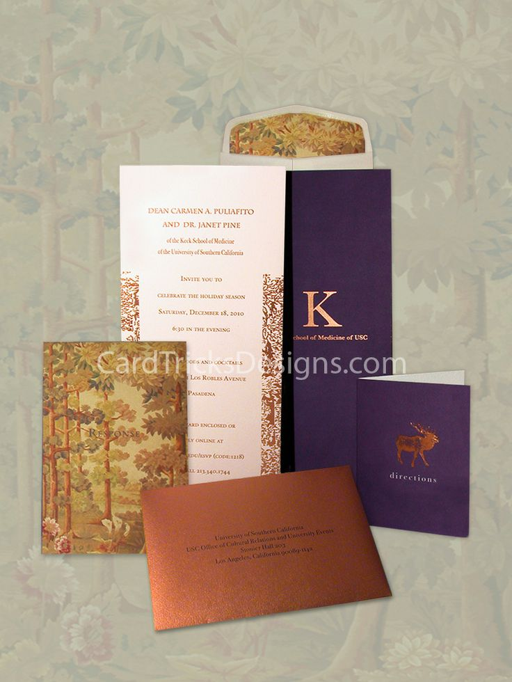 A beautiful seasonal invitation mailer for USC's Keck School of Medicine holiday party.