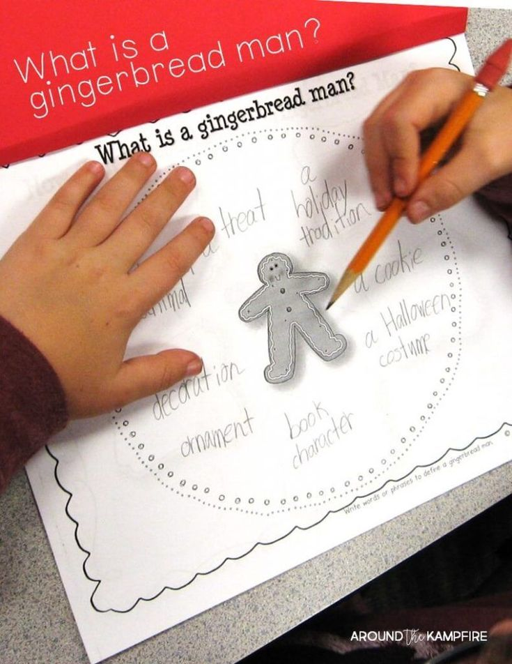 Defining a gingerbread man circle map-gingerbread literacy ideas and close reading lesson tips and anchor charts for first and second graders using versions of The Gingerbread Man. This post has gingerbread activities for 1st and 2nd grade with free printable story elements charts.