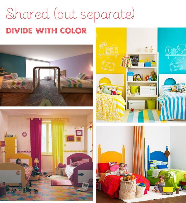 Ideas for double children rooms. I want to remember this for when I move the girls into the same room. I love the idea.