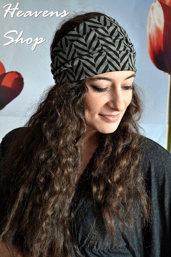 Zig Zag Double Colored Headband Futuristic Grey And by HeavensShop, €15.00