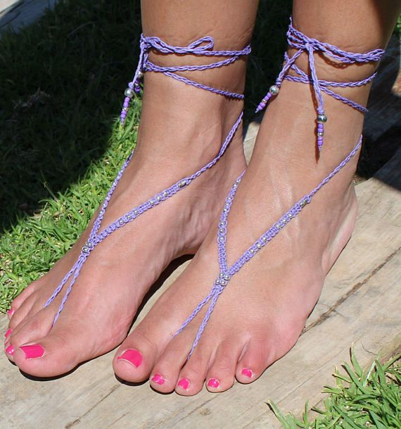 Fairy Sandals Macrame BAREFOOT SANDALS Purple Beaded Foot