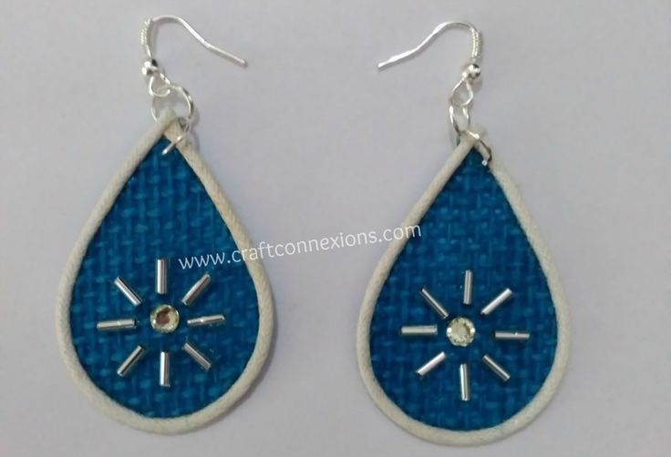Handmade Jewellery Making Tutorial  – Blue Dangle jute earrings....