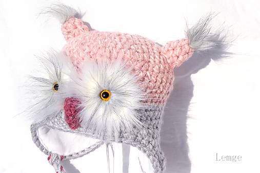 pink crochet owl hat