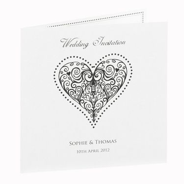 Black Beaded Heart Wedding Invitations