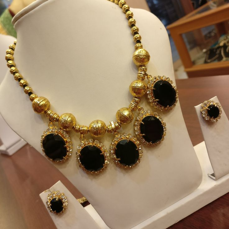 Traditional Indian Jewellery with zircon stones, available at Rimli Boutique, T Nagar, Chennai.