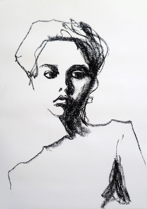 contour drawing style that emphasises the shadows across the right side of the face using the side of a charcoal bar- maggie