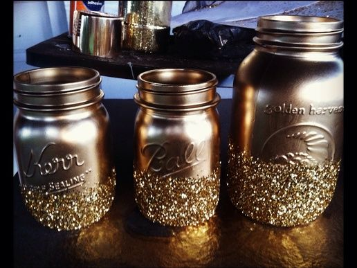 Grab a piece of computer and wrap around mason jar with the area you want Glitterfied showing. Spray the are with the glue spray then quickl...
