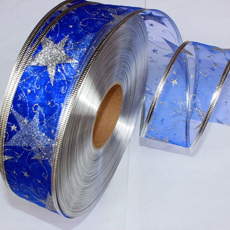 50MM Wide Blue Ribbon Gauze Ribbon Printing Star Christmas Tree Decoration Christmas Decoration,DIY Accessories-in Ribbons from Home & Garden on Aliexpress.com | Alibaba Group