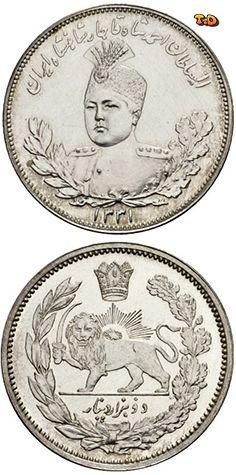 N♡T. IRAN QAJAR DYNASTY. 2000 Dinars AH 1331. Silver plated bronze pattern. K./M. (cf. 1057, AR). 16,05 g.