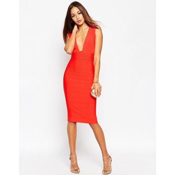 ASOS SCULPT Premium Bandage Ultra Plunge Midi Dress ($97) ❤ liked on Polyvore featuring dresses, red, red midi dress, open back dresses, bodycon midi dress, white body con dress and red bandage dress