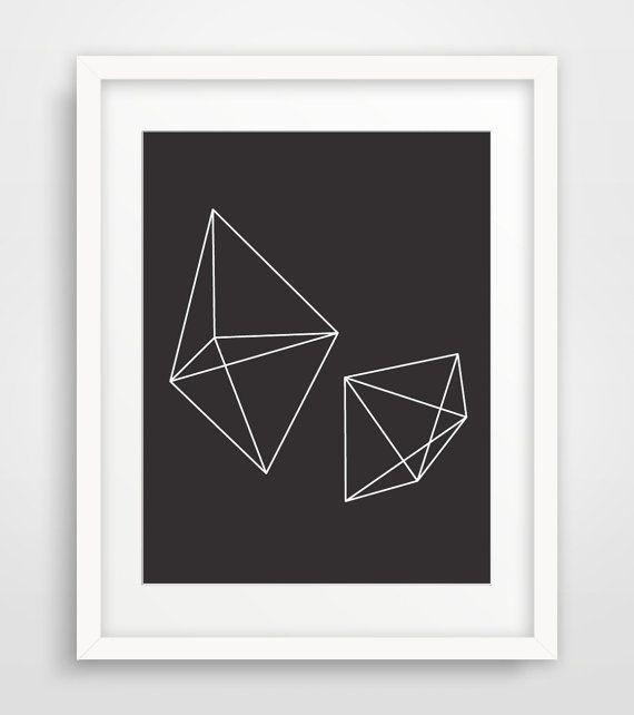 Black Geometric Print Art Black and White by MelindaWoodDesigns #Geometric #modern #black