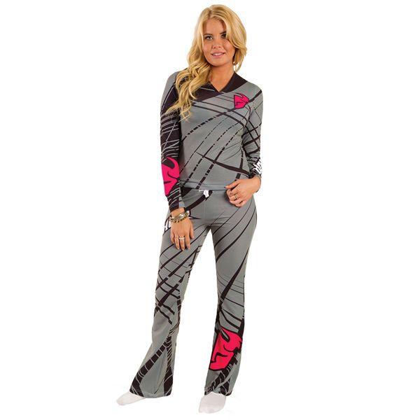 THOR Motocross Genuine Ladies Flora Long Pajamas (Gray