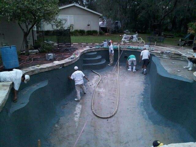 Acid Wash Gunite Pool : Pebble tec installation pre acid wash to expose the