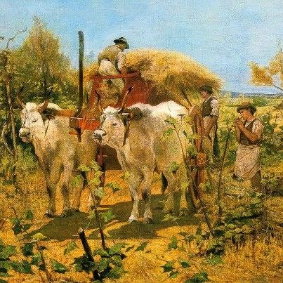 Giovanni Fattori (Livorno, 6 settembre 1825 – Firenze, 30 agosto 1908) Raccolta del fieno in Maremma (sd) Collezione privata