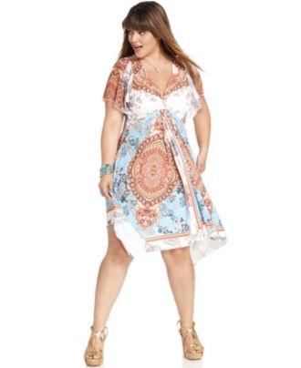 One World Plus Size Dress, Short-Sleeve Printed Crochet - Junior Plus Size - Plus Sizes - Macy's