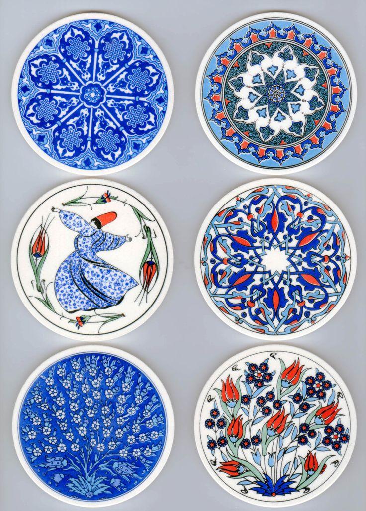 A Set Of 6 Elegant Ceramic Trivets Circular By