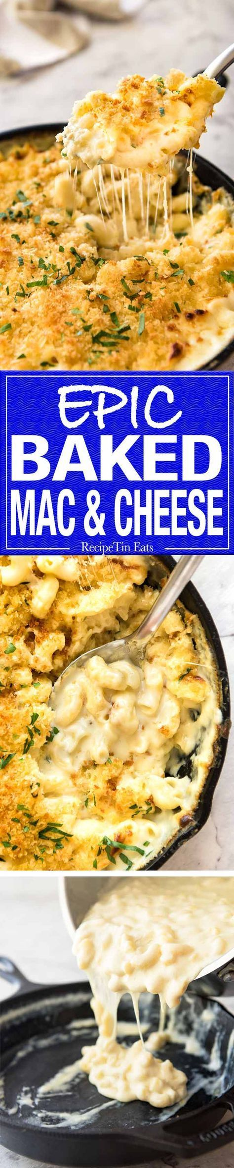 The ultimate classic Baked Mac and Cheese, with an insane cheesy sauce and topped with an irresistible golden, buttery breadcrumb topping. http://recipetineats.com