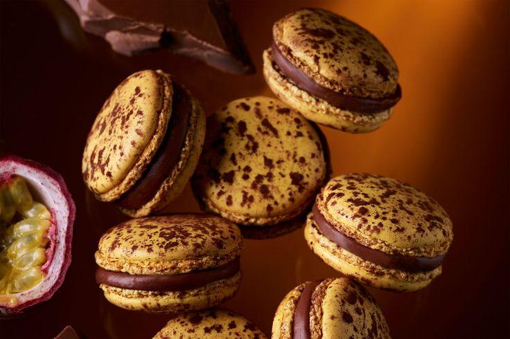 MACARON MOGADOR—Makes 90–100 macarons  Milk Chocolate and Passion Fruit Ganache 105 g. butter 575 g. 40% cacao milk baking chocolate 280 g....