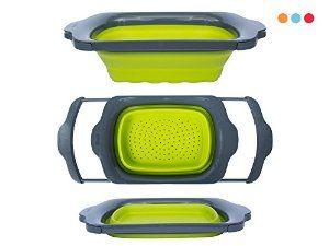 Collapsible Colander 6 Quart Folding Strainer Over Sink Kitchen Fruit Set  Basket