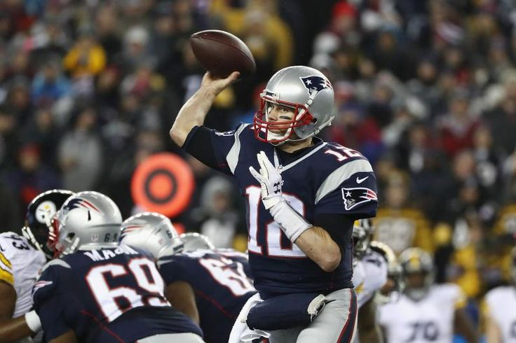 FOXBORO, MA - JANUARY 22:  Tom Brady #12 of the New England Patriots throws a pass against the Pittsburgh Steelers in the AFC Championship Game at Gillette Stadium on January 22, 2017 in Foxboro, Massachusetts.  (Photo by Elsa/Getty Images)