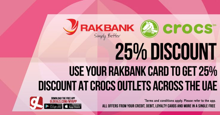 Use your Rakbank card to get 25% discount at Crocs outlets across UAE. Download GL Deals app now for free and get further access to more of your cards' offers. http://www.gldeals.com/myapp #instalike #tagsforlikes #dubai #happy #uae #offers #app #appstore #iosapp #googleplay #android #ios #gldeals #deals #discounts #cards #shopping #crocs #rakbank