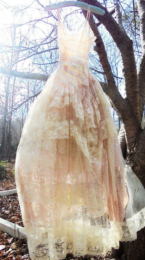 Peach Lace dress wedding  tulle romantic cream by vintageopulence