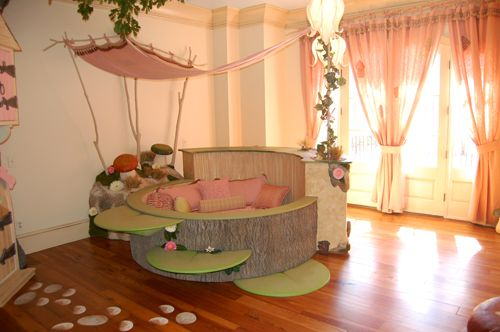 A Wonderful Fairy Bedroom    SERIOUSLY amazing ideas in this room. I love how the little bed can have crib rails added to make a snug & round crib!