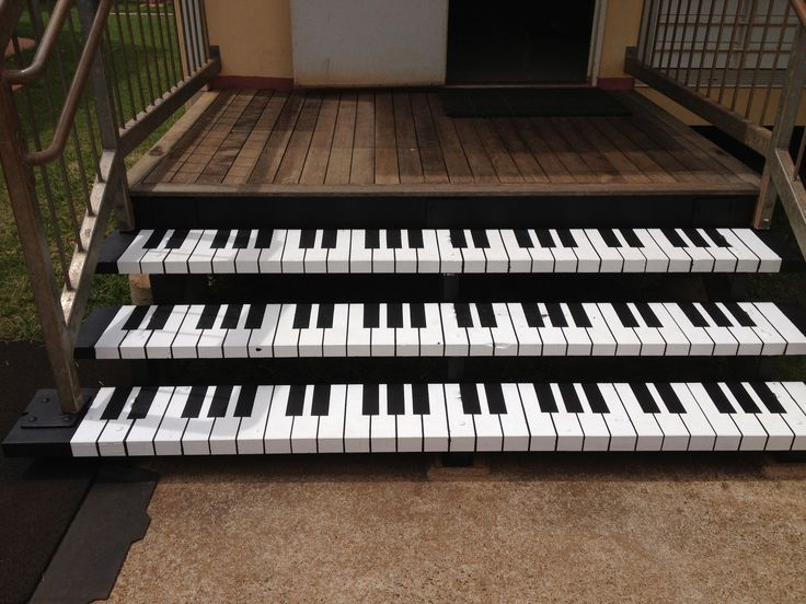 Piano keyboard stairs up to music room!