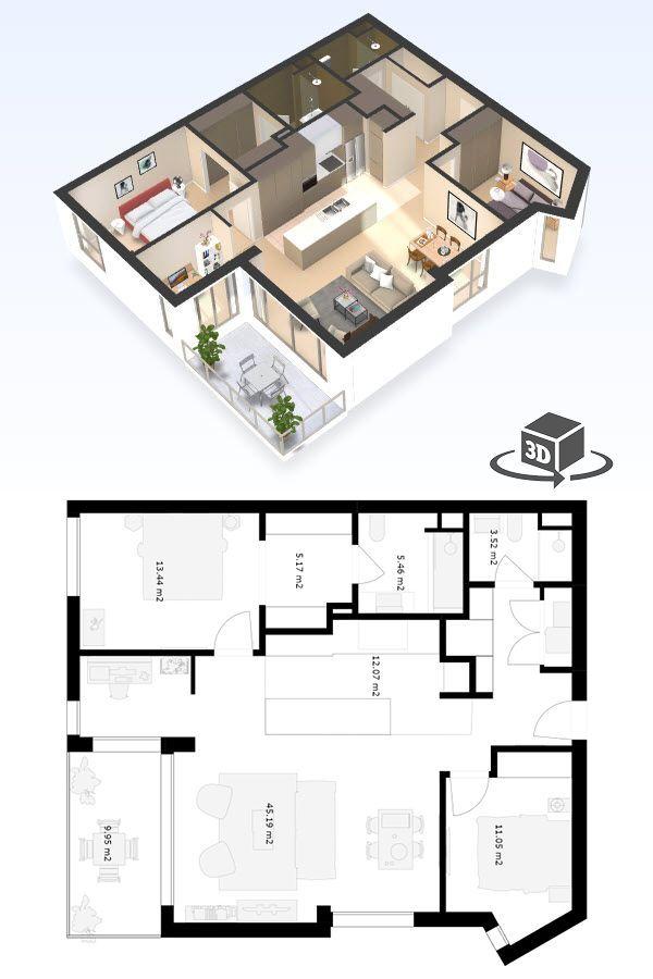 2 Bedroom Apartment Floor Plan In Interactive 3d Get Your Own 3d