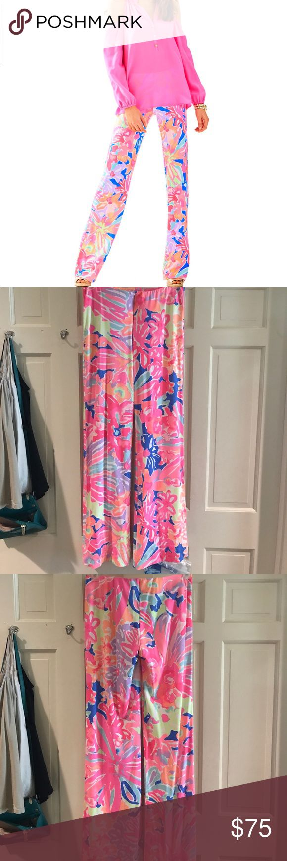 Georgia May Palazzo Pant in Playa Hermosa size S New! Stretch cotton palazzo pant in pull-on style by Lilly Pulitzer. Worn and washed once Lilly Pulitzer Pants